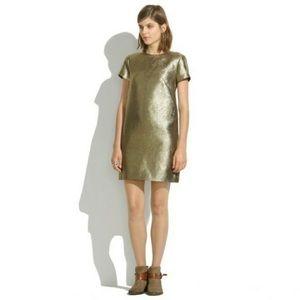Madewell Gold Metallic T-Shirt Dress Size 6